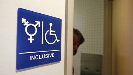 A gender-neutral bathroom is seen at the University of California, Irvine