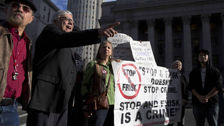 FILE PHOTO: People protest 'stop and frisk' policy outside of the Federal Court in New York City, US, on November 1, 2013.