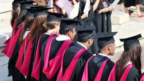 Warwick University graduates on the day of their graduation ceremony in Warwick, Britain  July 17, 2017