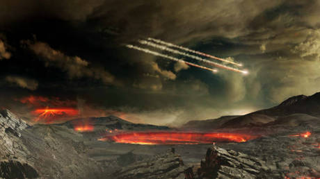 Meteors impacting ancient Earth, artist's concept. © NASA's Goddard Space Flight Center Conceptual Image Lab