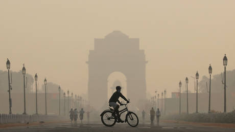 FILE PHOTO: A man rides a bicycle on a smoggy morning near India Gate in New Delhi, India.