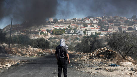 A Palestinian protester stands facing the settlement of Qadomem in the West Bank © Reuters / Mohamad Torokman