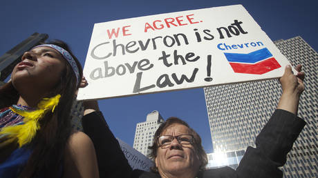 FILE PHOTO: A protester demonstrates against Chevron's racketeering lawsuit in New York, 2013 © Reuters / Carlo Allegri