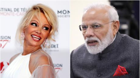Actress and activist Pamela Anderson © REUTERS/Eric Gaillard ; Indian Prime Minister Narendra Modi © Sputnik/Mikhail Klimentyev
