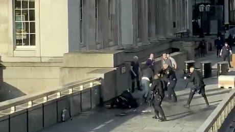 Police officers aim at a man who had stabbed a number of people, on London Bridge, November 29, 2019 in this still image obtained from a social media video