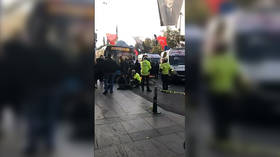 13 injured after driver PLOWS bus into crowd & then attempts to flee with KNIFE in Istanbul (VIDEO)