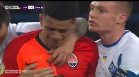 Footballer in tears as he is SENT OFF after responding to racist abuse in Ukraine (VIDEO)
