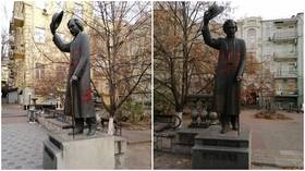 Vandals paint swastikas on statue of Jewish writer Sholem Aleichem near Kiev's 2nd-largest synagogue