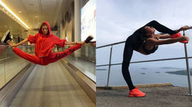 Training on the go: Russian gymnast Alexandra Soldatova shows off incredible flexibility at airport (VIDEO)