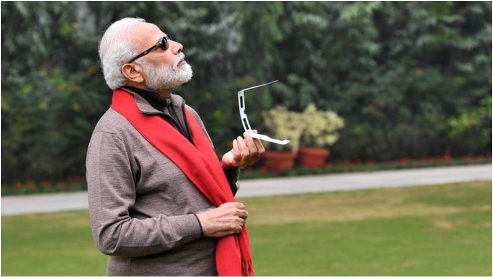 Indian PM Modi says memes 'most welcome' after tweeting pic of himself observing solar eclipse (PHOTOS)