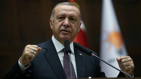 FILE PHOTO. Turkish President Tayyip Erdogan addresses lawmakers. ©Presidential Press Office via REUTERS