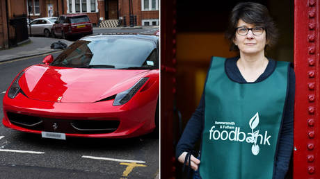 (L) A Ferrari parked in Knightsbridge, London © Global look Press / Ben Stevens; (R) Hammersmith and Fulham food bank manager © AFP / Ben Stansall