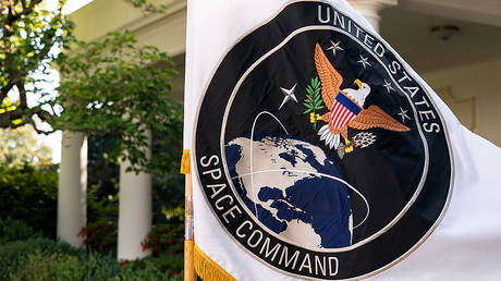 FILE PHOTO: The flag of the U.S. Space Command© Global Look Press/White House