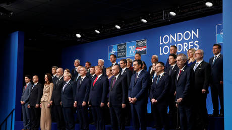 NATO leaders pose for a family photo during the annual summit at the Grove Hotel in Watford, UK, December 4, 2019.