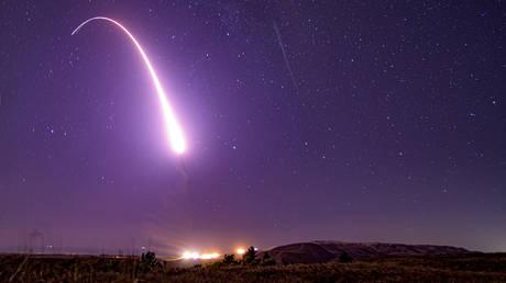 An unarmed Minuteman III intercontinental ballistic missile launch from Vandenberg Air Force Base, California