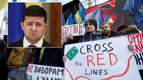 Ukraine's Zelensky to be TOPPLED by protests if he crosses 'red lines' in Paris, TV host warns, as crowds cheer
