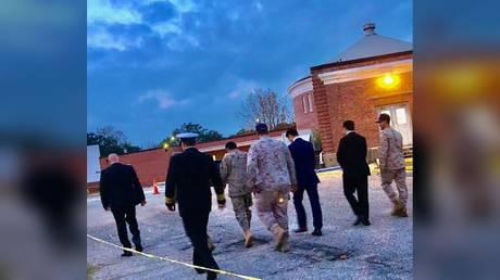 Saudi Arabia Defense Attache, Major General Fawaz Al Fawaz, arrives to meet with grounded Saudi students at NAS Pensacola on December 9, 2019.