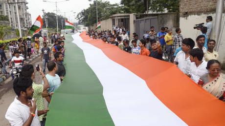 Rally to celebrate of 73rd Independence Day. August 15, 2019, Kolkata, West Bengal, India © Global Look Press/ZUMAPRESS.com/Saikat Paul