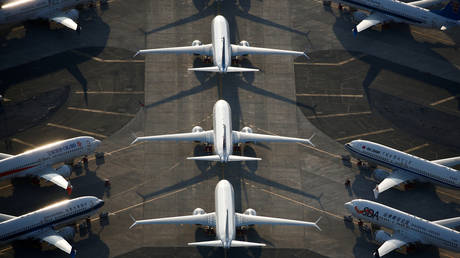 FILE PHOTO: An aerial photo shows Boeing 737 MAX aircraft at Boeing facilities at the Grant County International Airport in Moses Lake, Washington.