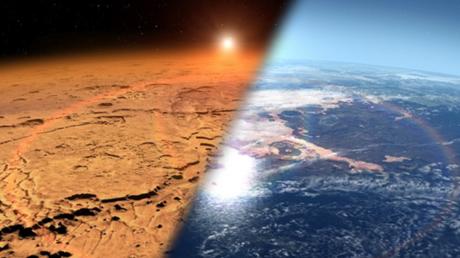 Illustration of Mars past and present © NASA's Goddard Space Flight Center