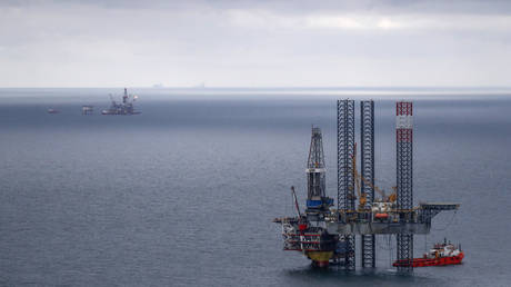 Oil platforms operated by Lukoil at the Korchagina oil field in Caspian Sea