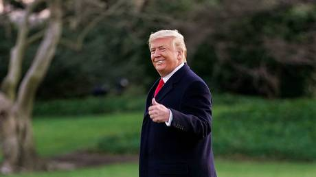 US President Donald Trump departs the White House for a campaign rally while the House debates impeachment, December 18, 2019.
