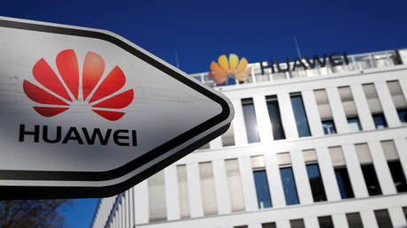 FILE PHOTO: The logo of Huawei Technologies is pictured in front of the German headquarters of the Chinese telecommunications giant in Duesseldorf, Germany, February 18, 2019.