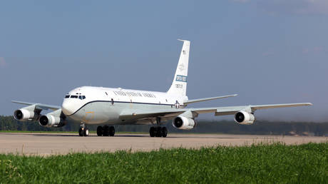 FILE PHOTO: Boeing OC-135B equipped for the Open Skies Treaty missions is seen at the Kubinka airbase, Moscow region, Russia.