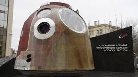 Soyuz capsule that saved crew from tumbling rocket is turned into monument (PHOTOS)