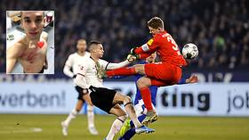 'The reddest red card you'll see': German goalkeeper sent off for kung fu HORROR challenge (VIDEO)