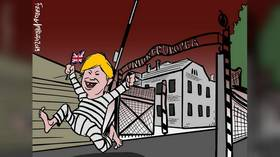 Artist's compromise over cartoon of Brexit BoJo running from EU death camp just kills the joke stone dead