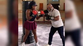 'She has some power': Boxing legend Mike Tyson teaches Serena Williams to throw punches (VIDEO)