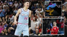 'What a herro!' Real Madrid goalkeeper Thibaut Courtois saves NBA star Tyler Herro from courtside smash (VIDEO)