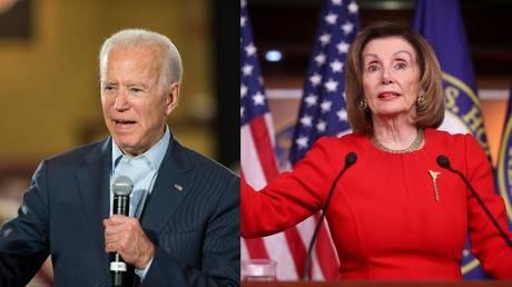 Joe Biden and Nancy Pelosi. © (L) Scott Eisen / Getty Images North America / AFP; (R) Jonathan Ernst / Reuters