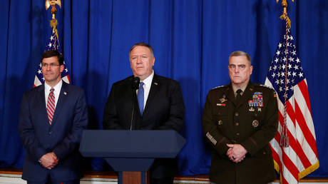 FILE PHOTO Mike Pompeo (center) © Tom Brenner / Reuters