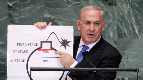 FILE PHOTO: Benjamin Netanyahu addresses the 67th United Nations General Assembly. ©REUTERS / Lucas Jackson
