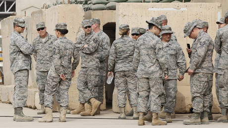 US soldiers at the former US Sather Air Base near Baghdad
