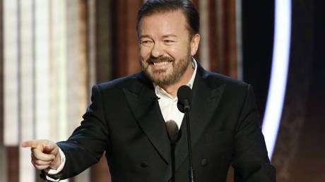 Ricky Gervais speaks onstage during the 77th Annual Golden Globe Awards at The Beverly Hilton Hotel on January 5, 2020 in Beverly Hills, California