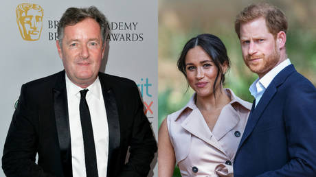 (L) TV host Piers Morgan © AFP / GETTY IMAGES NORTH AMERICA / Frazer Harrison (R) Duke and Duchess of Sussex © AFP / Michele Spatari