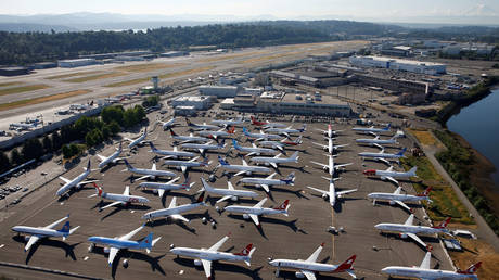 FILE PHOTO: Grounded Boeing 737 MAX aircraft are seen parked in an aerial photo at Boeing Field in Seattle, Washington.