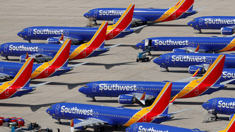 FILE PHOTO: Grounded Southwest Airlines Boeing 737 MAX 8 aircraft are shown parked at Victorville Airport in Victorville, California.