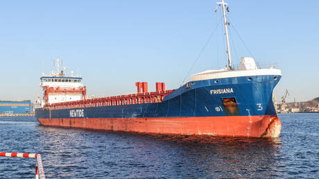 FILE PHOTO: A General Cargo Ship sailing under the flag of the Netherlands is seen in Gdynia, Poland, on 19 April 2019.