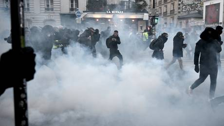 Protesters run away from tear gas during a demonstration in Paris on January 11, 2020.