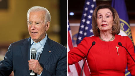 Joe Biden and Nancy Pelosi. © (L)  AFP/ Getty Images North America / Scott Eisen ; (R) Reuters / Jonathan Ernst