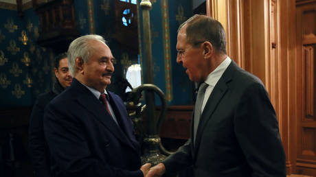 Commander of the Libyan National Army (LNA) Khalifa Haftar shakes hands with Russian Foreign Minister Sergei Lavrov before talks in Moscow, Russia, on January 13, 2020.