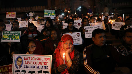 FILE PHOTO: Protesters against India's new citizenship law