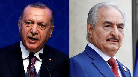FILE PHOTO (L) Tayyip Erdogan ©  REUTERS/Umit Bektas; (R) Khalifa Haftar © REUTERS/Philippe Wojazer