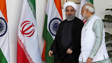Iranian President Hassan Rouhani and Indian Prime Minister Narendra Modi meet in New Delhi in 2018 ©AFP / Money Sharma