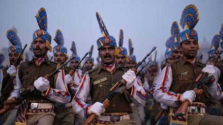 Soldiers take part in the rehearsal for the Republic Day parade early morning in New Delhi, India, January 13, 2020.