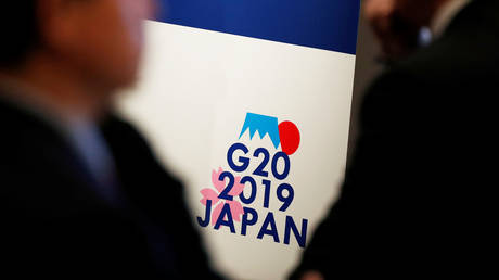 FILE PHOTO: G20 Summit logo is displayed at the G20 Finance and Central Bank Deputies Meeting in Tokyo © REUTERS/Issei Kato